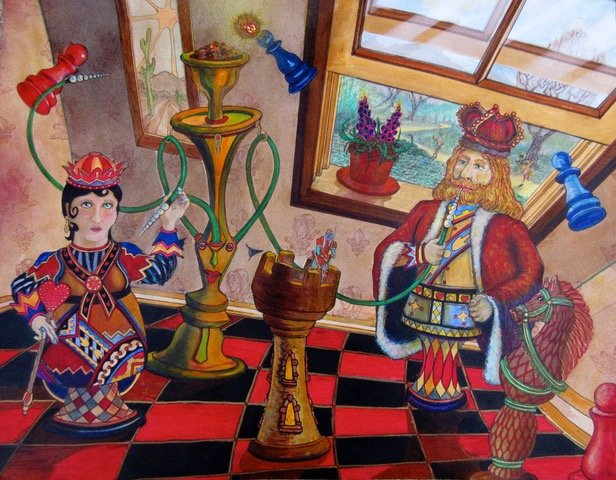 Playful painting of chess pieces
