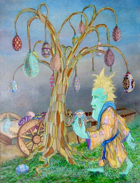 painting of colored egg tree and man