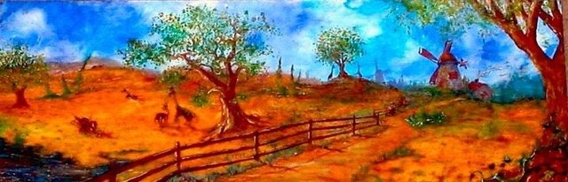 Landscape painting of fantasy fields