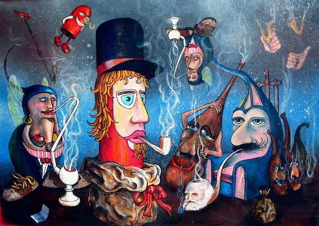 Colorful cartoon like heads smoking