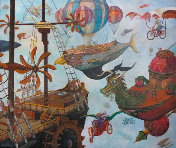 Ships, balloons and dragons ina painting
