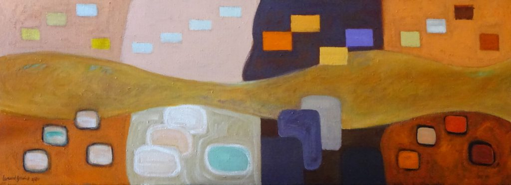 Abstract painting of rectangles by New England artist