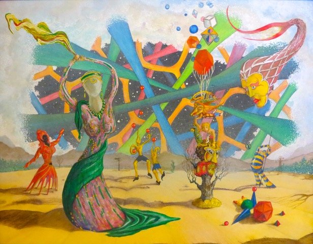 Colorful strange dancers in a painting