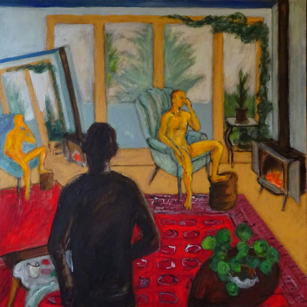 painting of room with artist in foreground