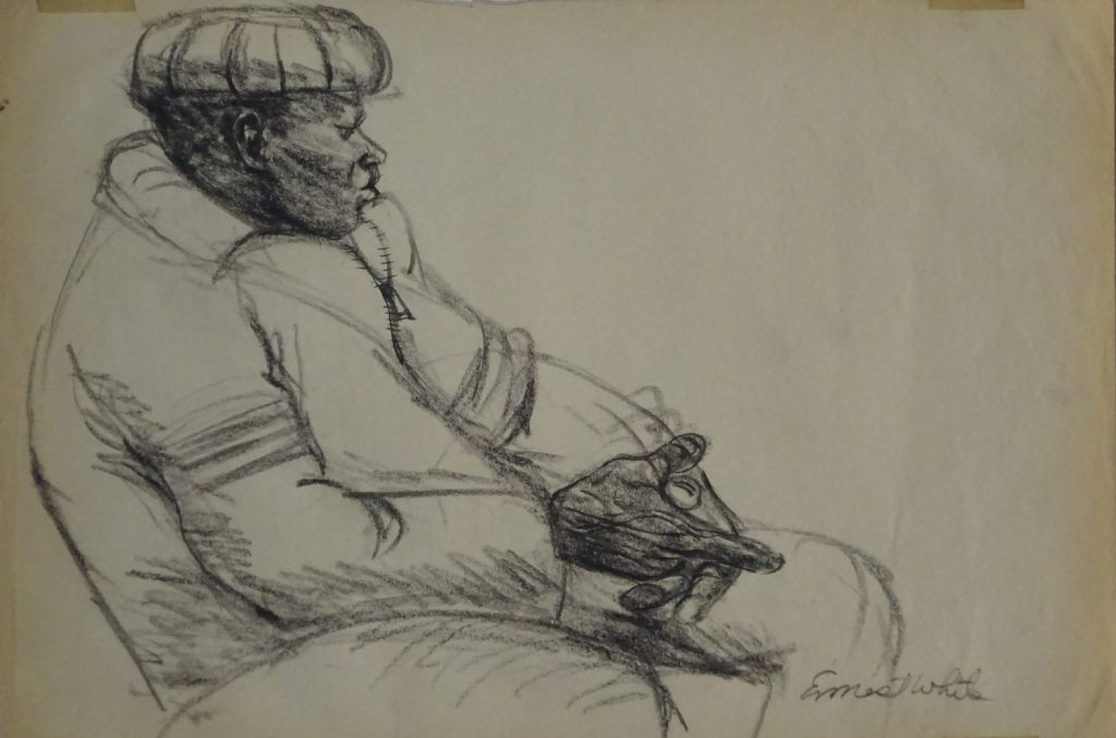 Drawing of subway rider in New York