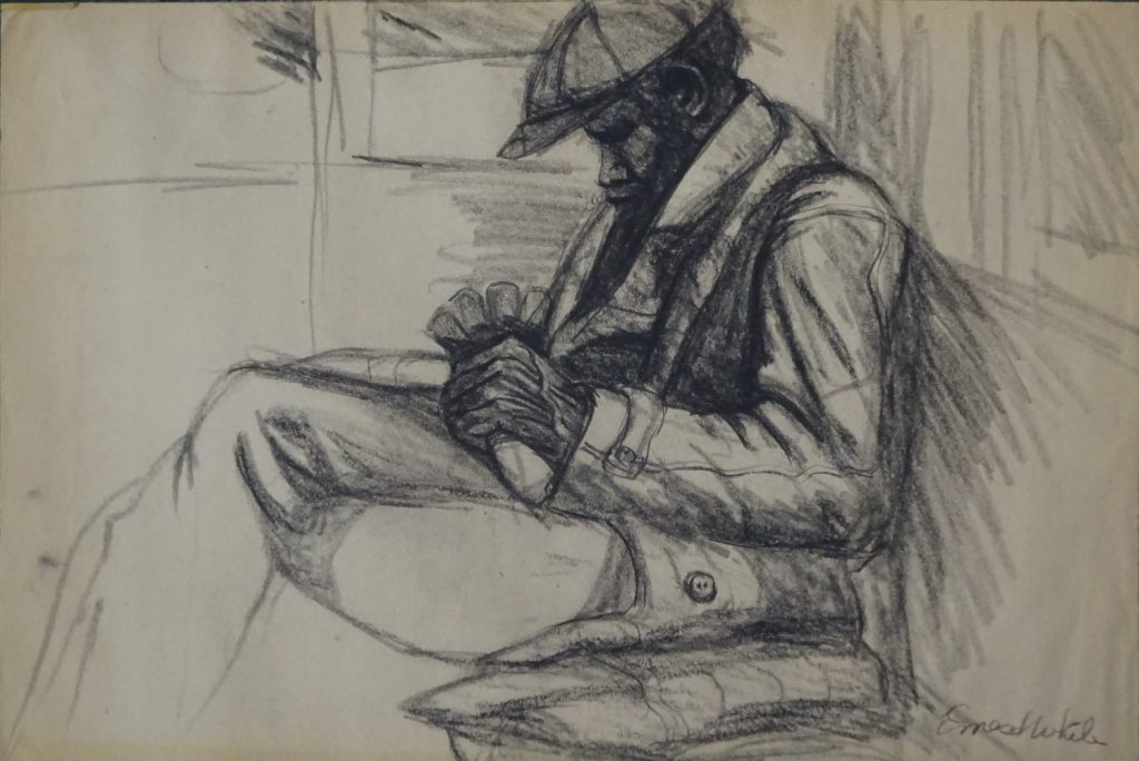 Charcoal sketch of Afro-American on New York City subway