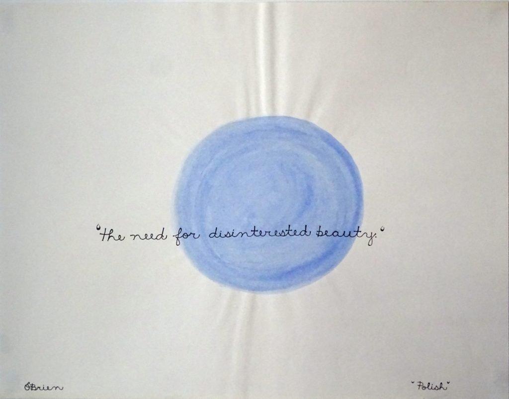 Light blue acrylic circle on white paper