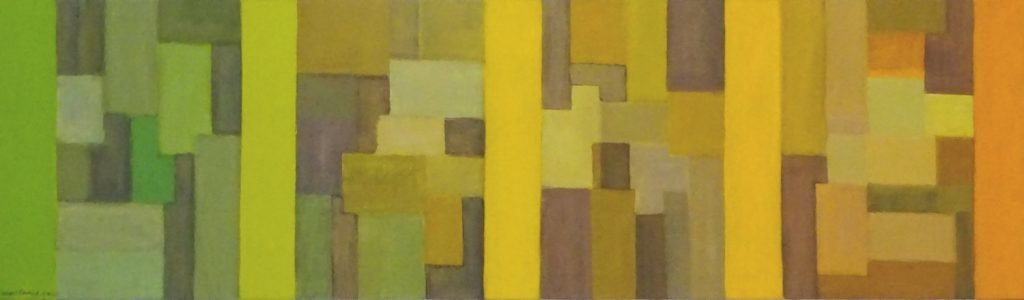 Abstract yellow shapes by new England artist, Leonard Gerwick