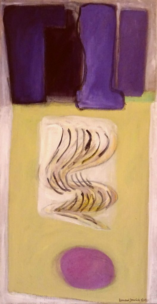 Abstract painting in purple and beige by New England artist