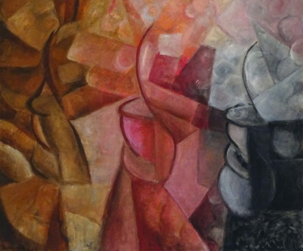 Abstract painting based on flowers in pots