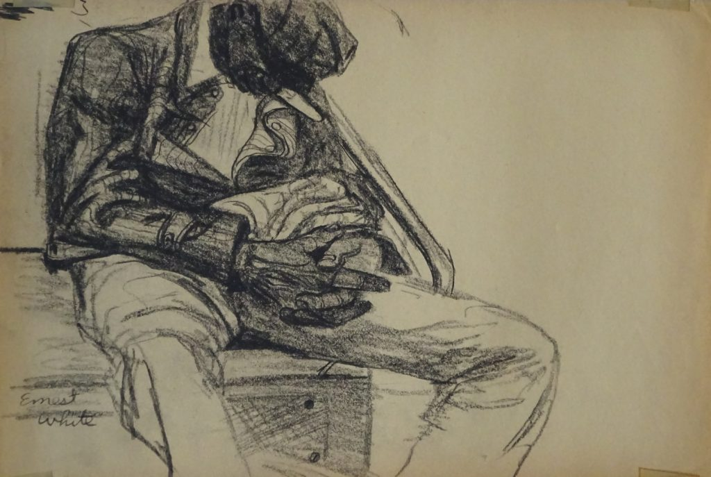 Drawing of man asleep on new York subway