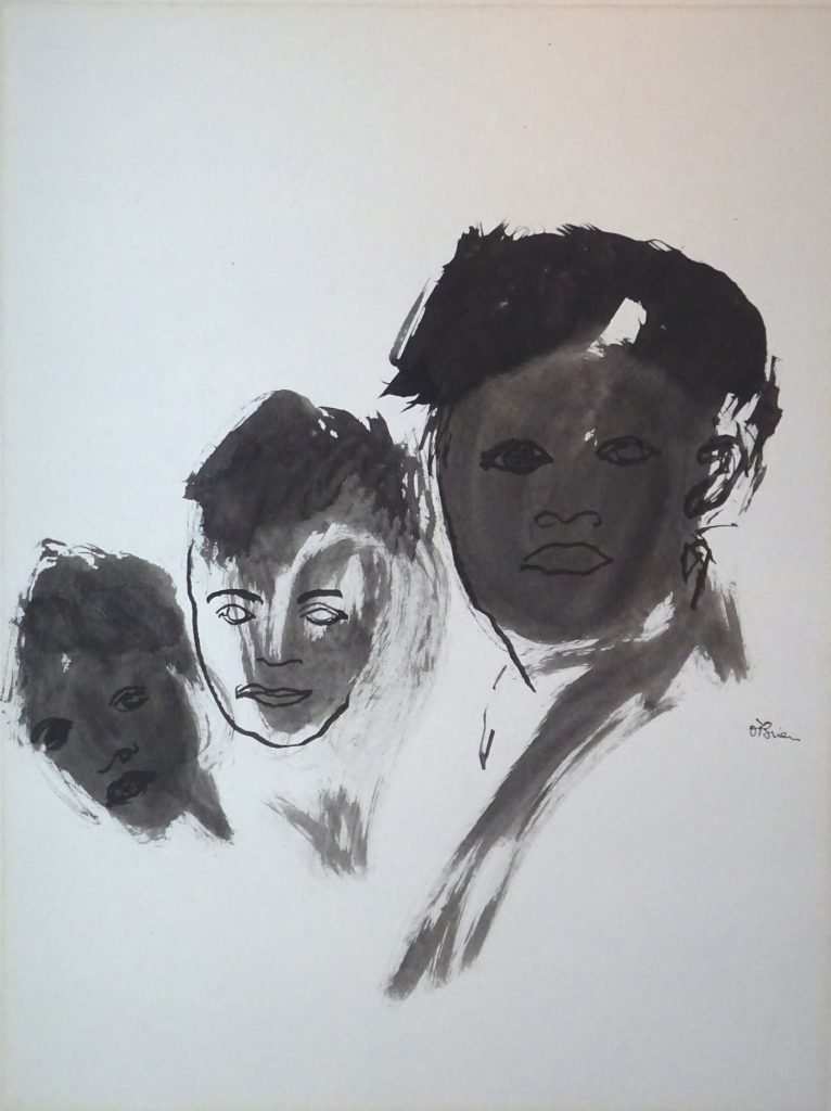 Ink drawing and wash of three boys