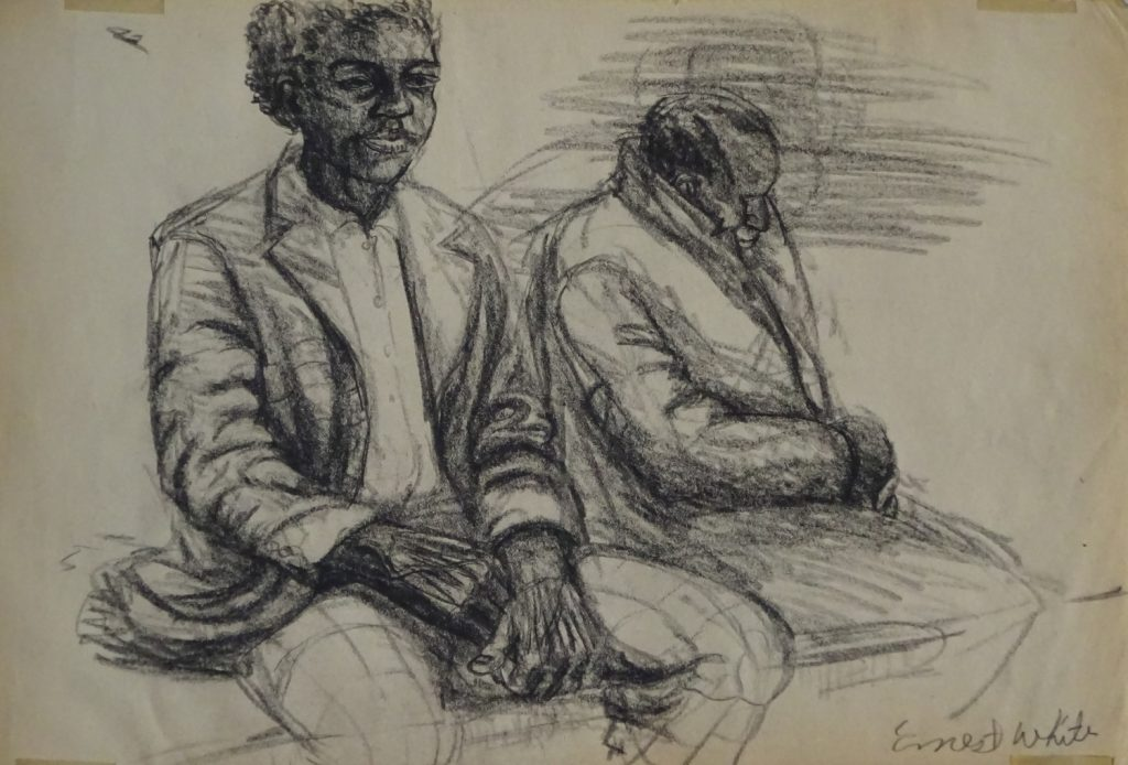 Drawing of two men on new York subway