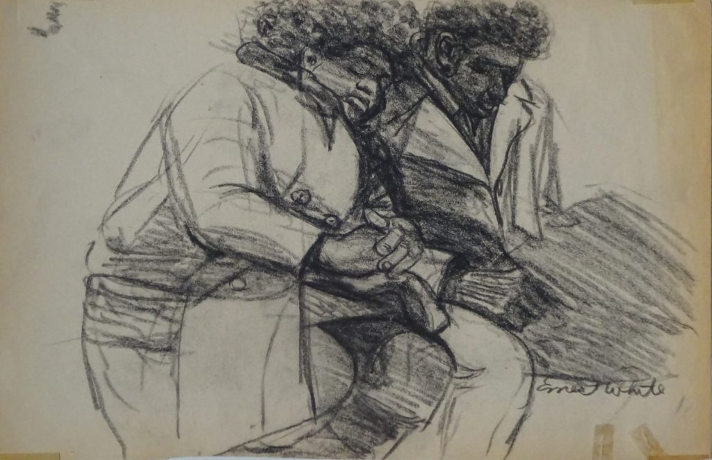 Sketch of a couple riding subway