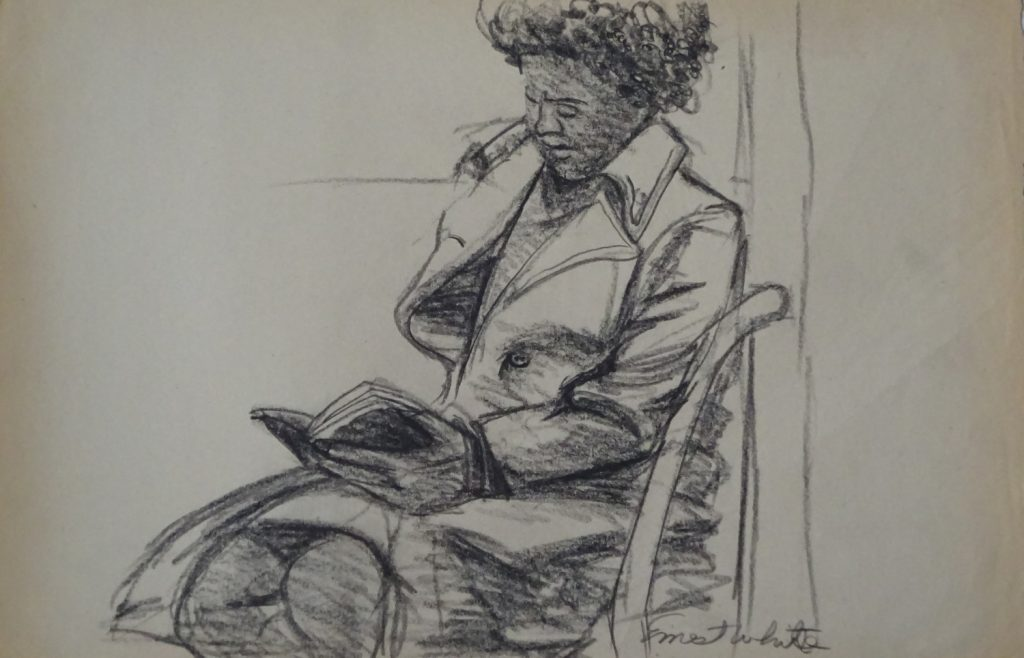 Sketch of woman riding on subway