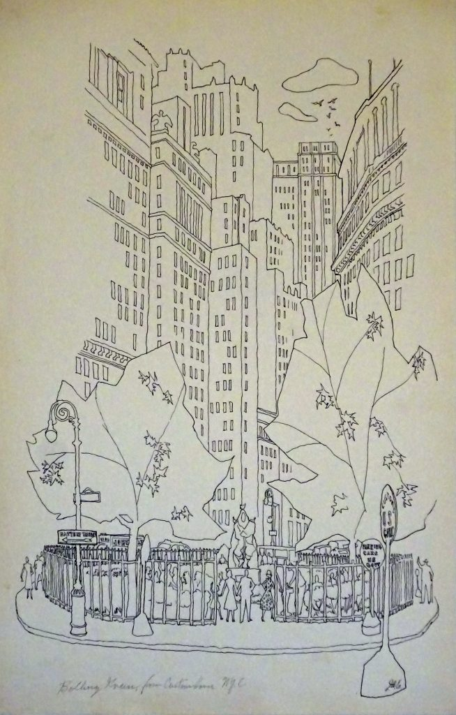 drawing of downtown NYC by James Ernst