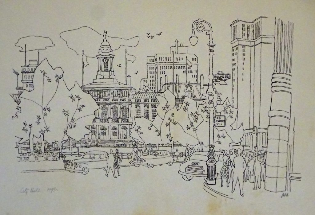 Drawing of City Hall NYC