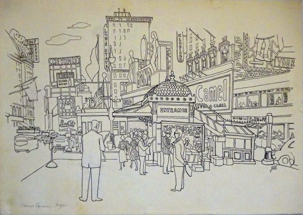 Drawing of Times Square