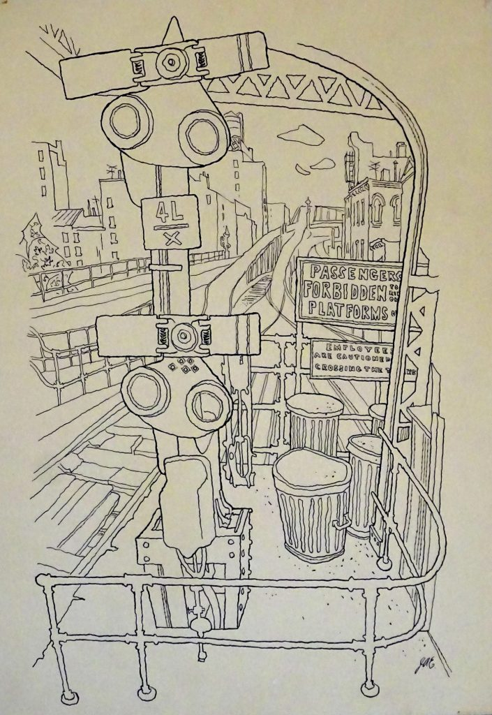 drawing of Elevated Subway, New York City