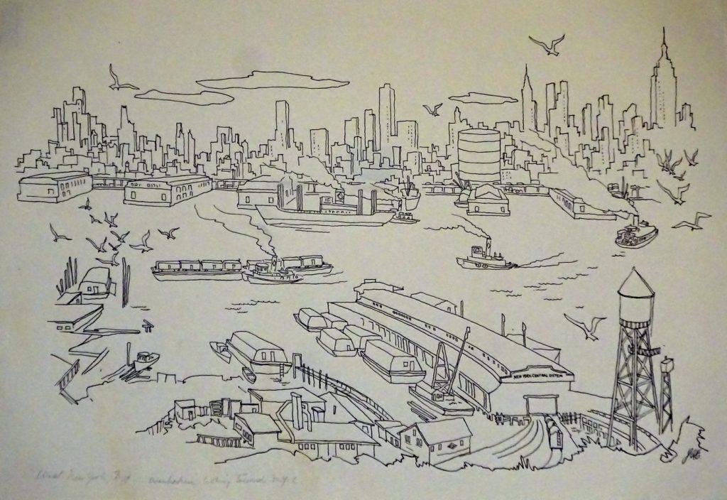 drawing of manhatten across Hudson River