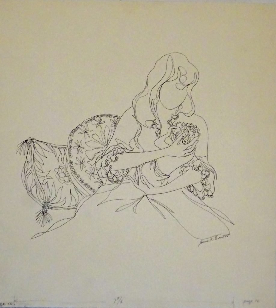 Drawing of a woman caressing a child