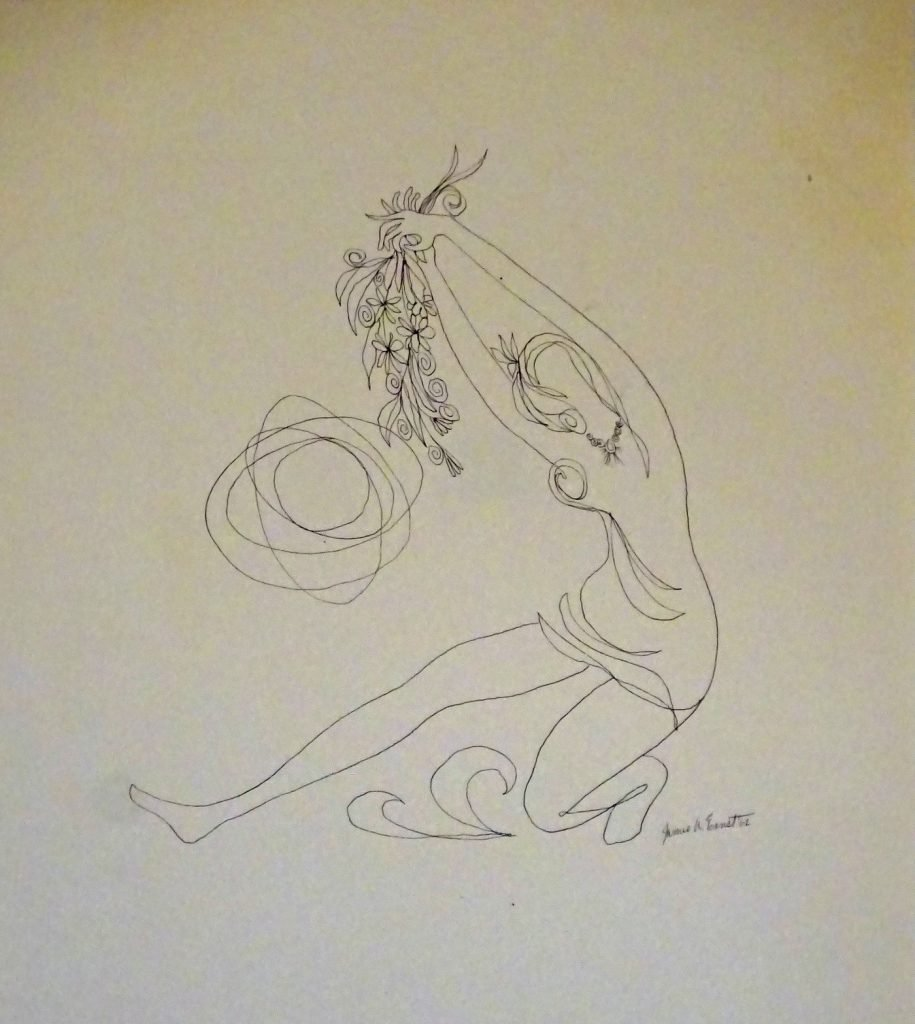 Drawing of female dancer with flowers