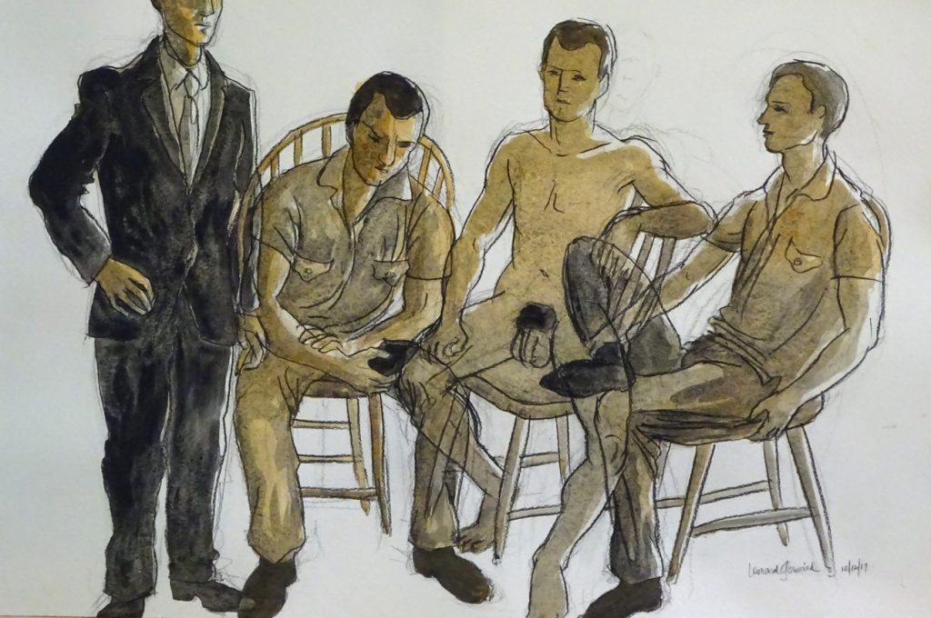 Drawing of three clothed, one nude man