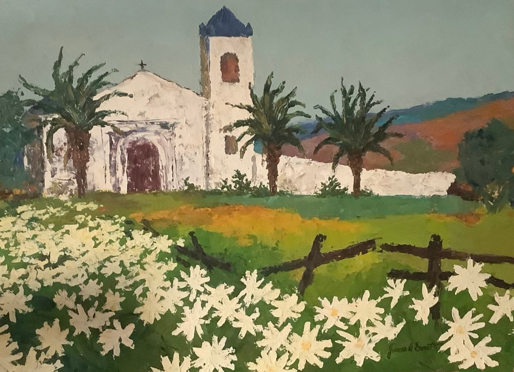 Painting of white church in a field of white flowers
