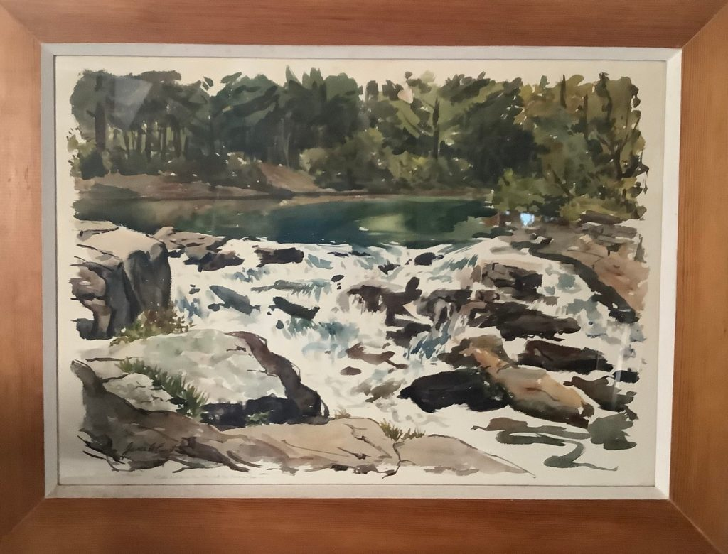 Watercolor of a rocky river