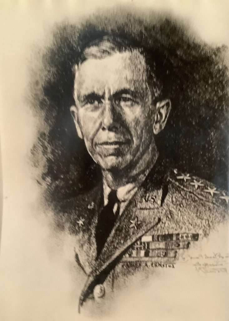 Charcoal portrait of General George Marshall