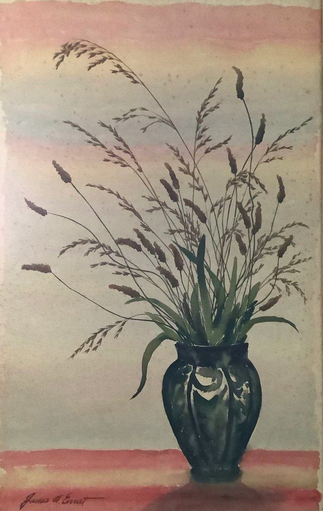 Watercolor of vase with tall grasses