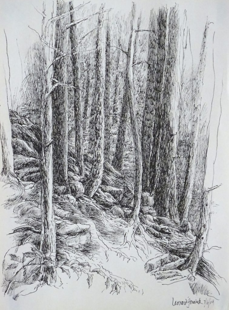 Drawing of steep rocky hill in Vermont