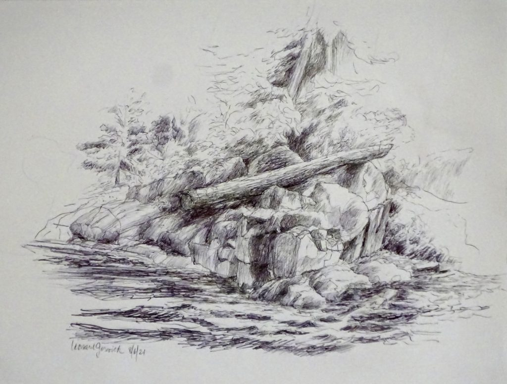 Ink drawing of suspended great log by a river