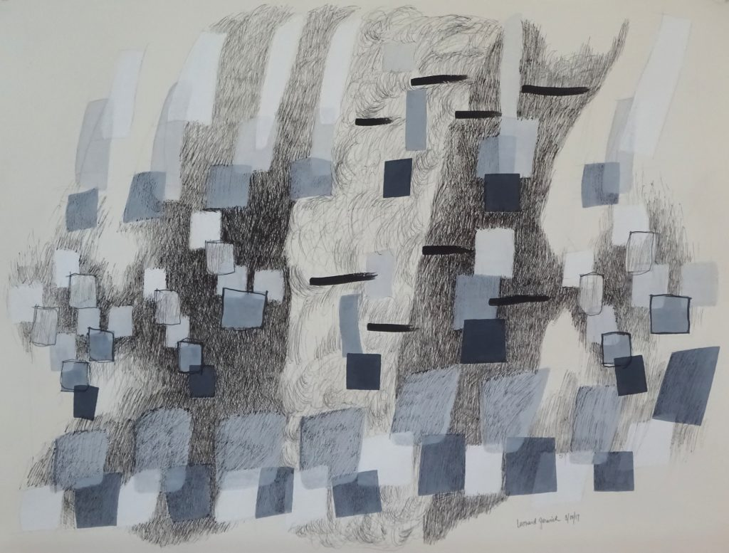 Drawing of rhythm design composed of lines and boxes