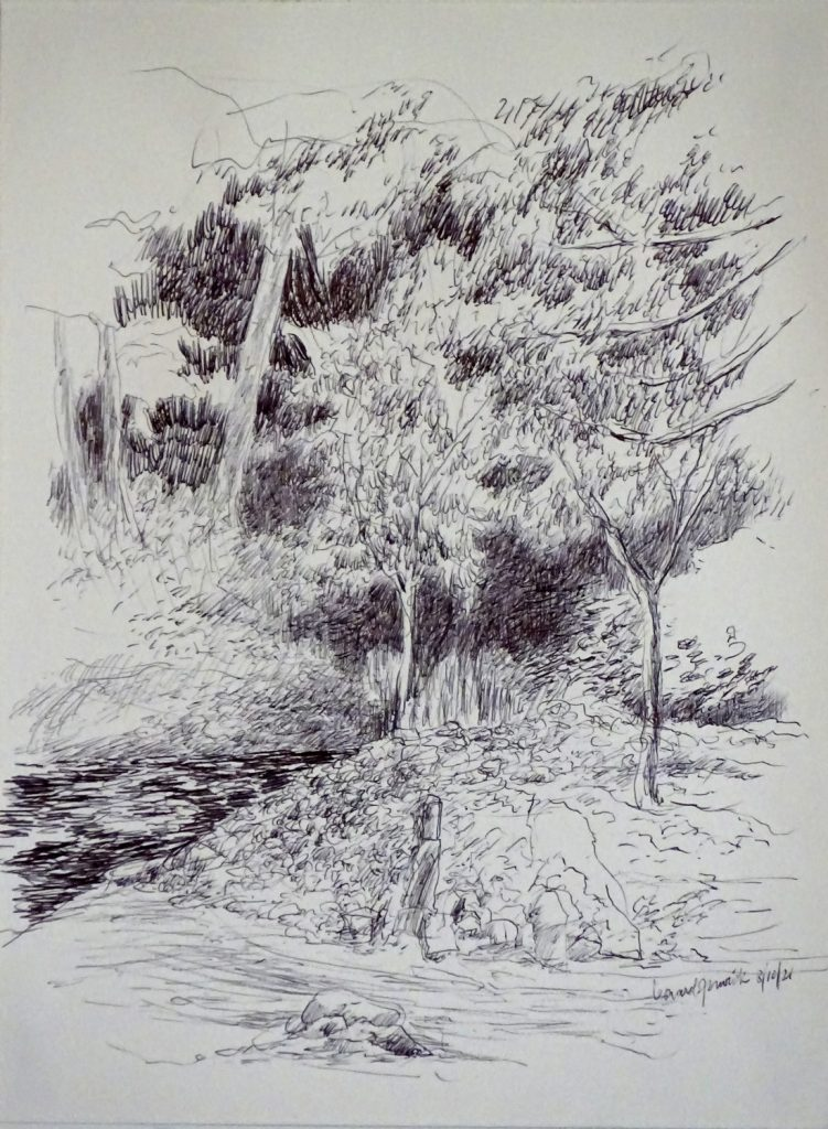 Ink drawing of New England scene