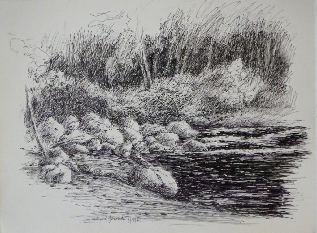 Ink drawing of rushing river through woods