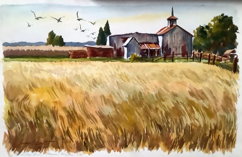 watercolor of high grass and distant farm buildings