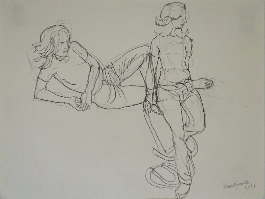 Drawing of woman leaning and reclining