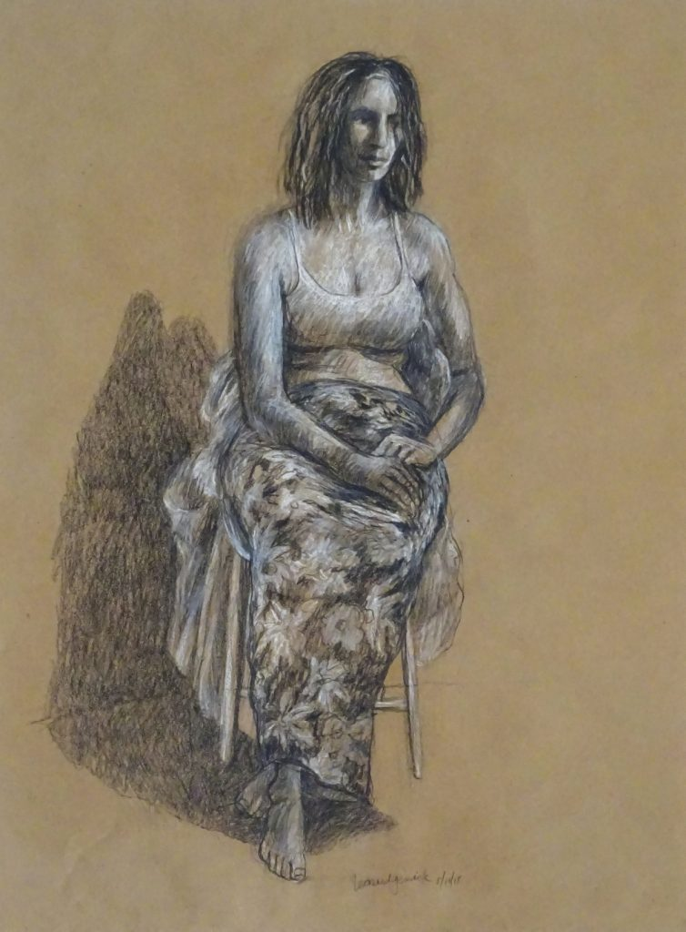 Drawing of seated woman by New England artist