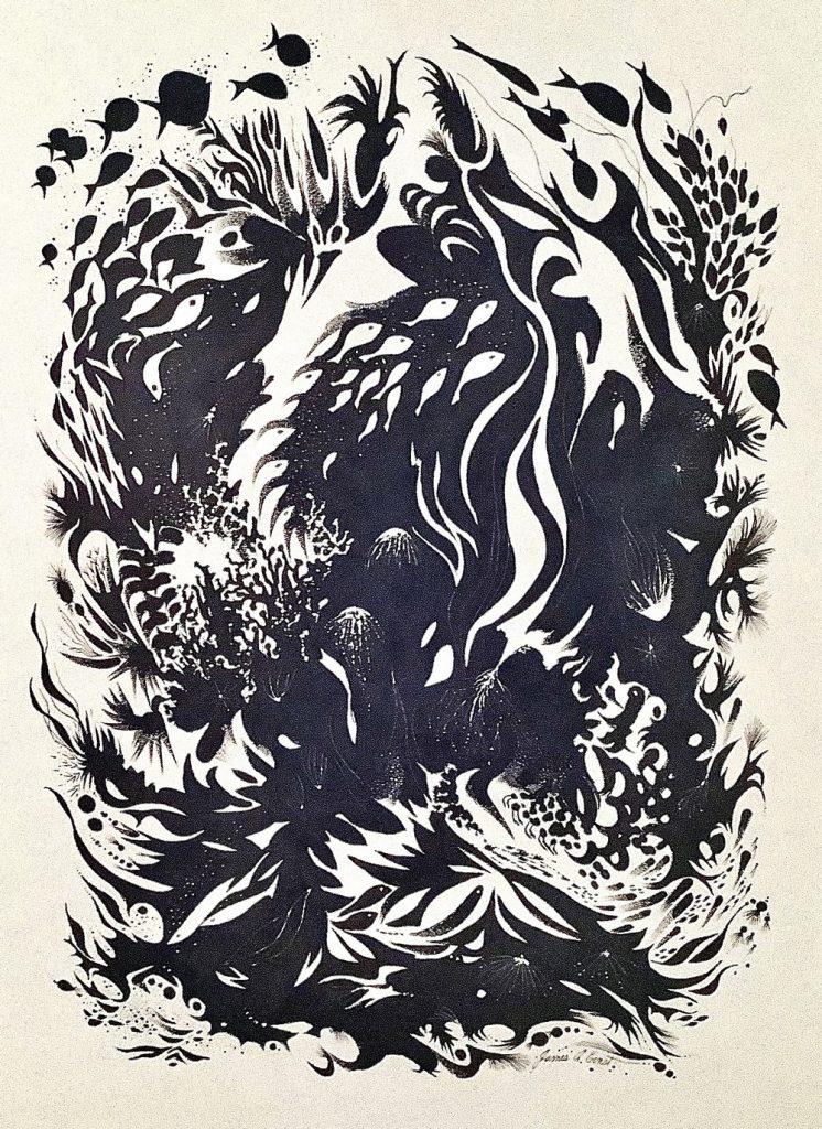 Black and white undersea fantasy